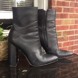 Black Snake Skin Print Boots